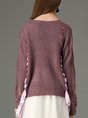 Fuchsia Daily Lace Up Casual Sweater