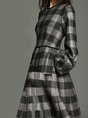 Checkered Pockets Daily Casual Midi Dress