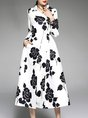 Shirt Collar White Floral Elegant Midi Dress