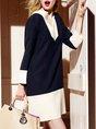 V Neck Shift Business Work Mini Dress