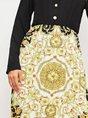 V Neck Paneled Pleated Casual Graphic Midi Dress