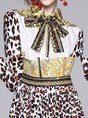 Tie-Neck Leopard Print Pleated Casual Maxi Dress