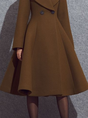Brown Long Sleeve A-Line Elegant Coat
