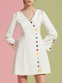 V Neck White Buttoned Date Casual Mini Dress