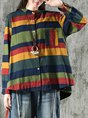 Striped Color-Block Shift Buttoned Top