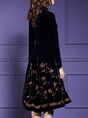 Stand Collar Burgundy Elegant Floral Midi Dress