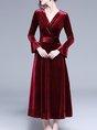 V Neck Burgundy Ruffled Elegant Maxi Dress