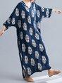 V Neck Floral Printed  3/4 Sleeve Dress
