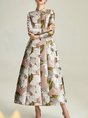 Jacquard Floral A-Line Floral Trench Coat