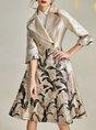 Lapel Jacquard 3/4 Sleeve Floral Elegant Trench Coat