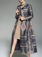 Lapel Elegant Long Sleeve Printed Coat