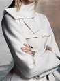 White Elegant Ruffled Pockets Jacket