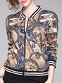 Graphic Printed Zipper Casual Blazer