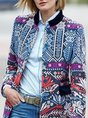 Stand Collar Tribal Printed Casual Coat