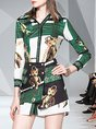 Animal Buttoned Elegant Top with Skirt Two-piece Set