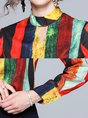 Striped Keyhole Color-Block Work Blouse