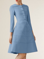 A-Line Solid Elegant Midi Dress