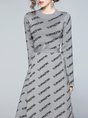 Gray Shift Daily Knitted Casual Midi Dress