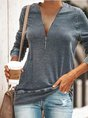 Casual Daily Zipper Long Sleeve Top