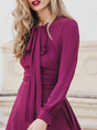 Tie-Neck Burgundy Swing Elegant Midi Dress
