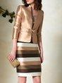 Elegant Striped Sheath Coat With Skirt Set