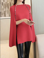 Casual Shift Cape Sleeve Knitted Sweater