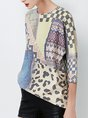 Patchwork 3/4 Sleeve Printed Casual Sweater