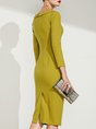 Yellow Elegant Bodycon Solid Midi Dress
