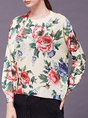 Floral Long Sleeve Printed Knitted Casual Sweater
