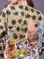 Animal Floral Knitted Printed Casual Sweater