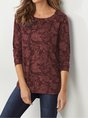 Casual Floral Round Neck Long Sleeve Top