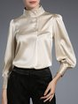 Champagne Balloon Sleeve Buttoned Elegant Blouse