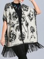 Casual Floral Fringed Poncho And Cape