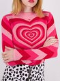 Pink Casual Knitted Long Sleeve Sweater