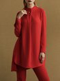 Red Solid Shift Paneled Casual Top With Pants Set