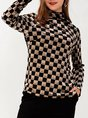 Casual Turtleneck Checkered/plaid Long Sleeve Top