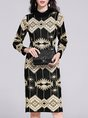 Knitted Casual Printed Graphic Midi Sweater Dress