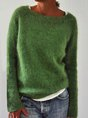 Solid Knitted Vintage Casual Sweater Pullovers