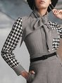 Houndstooth Shirt Collar Printed Buttoned Work Blouse