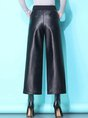 Black Pockets Shift Casual Wide Leg Pants