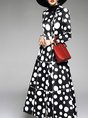 Black Long Sleeve Printed Polka Dots Trench Coat
