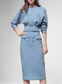 Blue Solid Elegant Crew Neck Top With Skirt Set