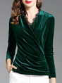 V Neck Guipure Lace Draped Work Top