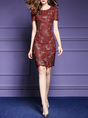 Short Sleeve Floral Sheath Party Embroidered Midi Dress