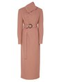 Brown Cowl Neck Elegant Maxi Dress With Belt