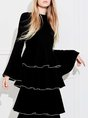 Black Flods Date Elegant Solid Maxi Dress