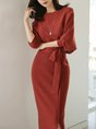 Red Bodycon Daily Solid Elegant Midi Dress