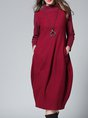 Burgundy Stand Collar Pockets Casual Midi Dress