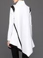 White Asymmetrical Solid Long Sleeve Casual Top