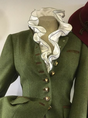 Green Paneled Plain Wool Blend Long Sleeve Outerwear